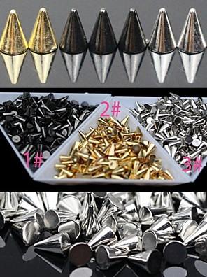 30pc goud en zilver en zwarte lichtmetalen punk conische nail art decoratie