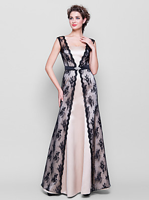 Floor-length Lace / Satin Bridesmaid Dress Sheath / Column Straps Plus Size / Petite with Lace / Sash / Ribbon / Crystal Brooch