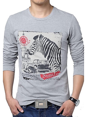 Men's Print Casual / Plus Sizes T-Shirt,Cotton / Polyester Long Sleeve-Blue / White / Gray