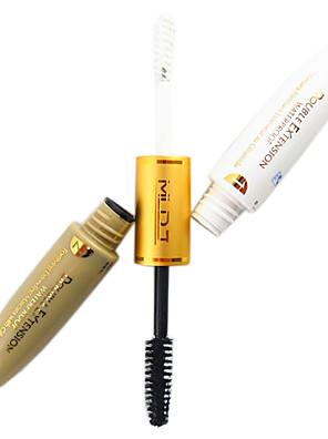 2in1 Double Extend White Mascara Gel&Black Fiber Eyelash Extension Waterproof Microfibre Mascara Set