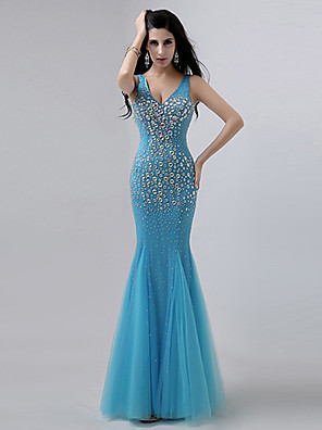 Formal Evening Dress - Regency / Ocean Blue Plus Sizes / Petite Trumpet/Mermaid V-neck Floor-length