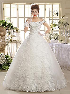 볼 드레스 웨딩 드레스 바닥 길이 오프 더 숄더 레이스 / 튤 와 아플리케 / 스팽글 / 비즈
