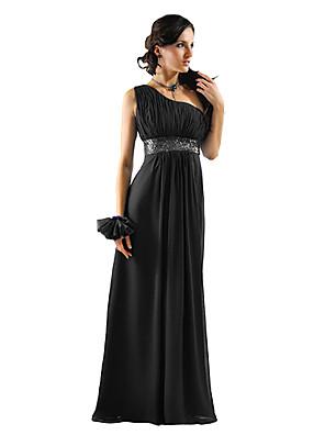 Dress Sheath / Column One Shoulder Floor-length Chiffon with Sash / Ribbon
