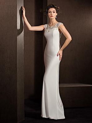 Lanting Bride® Pouzdrové Drobná / Nadměrné velikosti Svatební šaty Průsvitné Na zem Klenot Elastický satén s