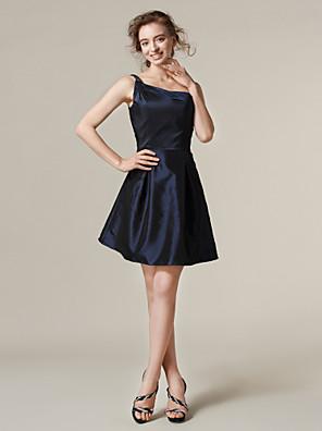 Lanting Bride® Krátký / Mini Taft Šaty pro družičky A-Linie / Princess Jedno rameno Větší velikosti / Malé s