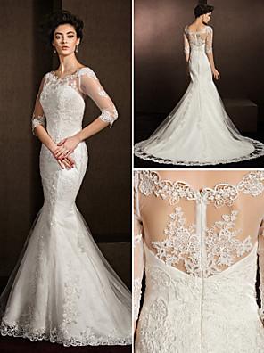 Lanting Bride® בתולת ים \ חצוצרה קטן / מידה גדולה שמלת כלה  שקוף שובל קורט מחשוף עמוק תחרה עם