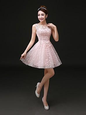 칵테일 파티 드레스 A-라인 쥬얼리 숏 / 미니 레이스 와 레이스
