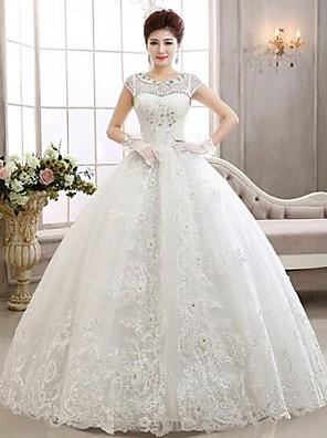 Da ballo Abito da sposa Lungo Con decorazione gioiello Di pizzo con Con applicazioni / Perline