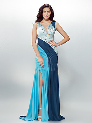 TS Couture® Formal Evening Dress - Beautiful Back Plus Size / Petite Sheath / Column V-neck Sweep / Brush Train Chiffon with Beading / Crystal