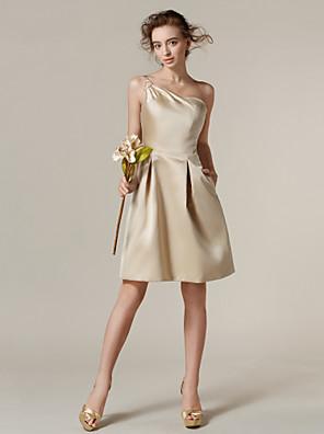 Lanting Bride® Ke kolenům Satén Šaty pro družičky - A-Linie Jedno rameno Větší velikosti / Malé s Kapsy / Boční řasení