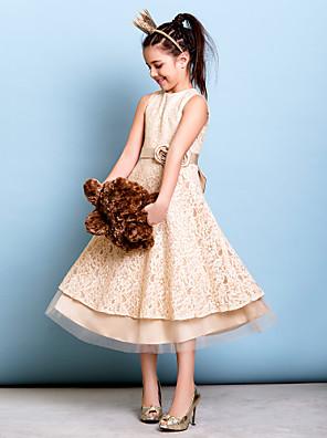 Lanting Bride® באורך הקרסול תחרה שמלה לשושבינות הצעירות  גזרת A עם תכשיטים עם פפיון(ים) / פרח(ים) / סרט