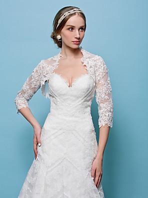 חתונה עוטפת בולרו תחרה לבן / משיכת כתפיים בצבע בז 'בולרו