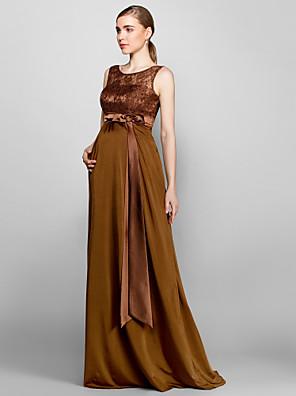 Floor-length Lace / Knit Bridesmaid Dress Sheath / Column Scoop Plus Size / Petite with Lace