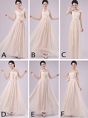 Floor-length Chiffon Mix & Match Sets Bridesmaid Dress - Sheath / Column Halter / One Shoulder / Strapless / Sweetheart / V-neck / Straps