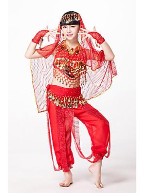 תלבושות בגדי ריקוד ילדים ביצועים שיפון / נצנצים חרוזים / מטבעות / נצנצים 6 חלקים בלי שרוולים טבעיחגורת מותניים / מכנסיים / צמיד / אביזרים