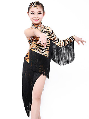 Dança Latina Vestidos Mulheres / Crianças Actuação / Treino Fibra de Leite Borla(s) / Estampado Animal 3 PeçasVestidos / Neckwear /