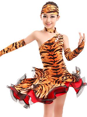 Dança Latina Ginástica / Vestidos Mulheres / Crianças Actuação / Treino Fibra de Leite Estampado Animal 5 Peças NaturalNeckwear / Luvas /
