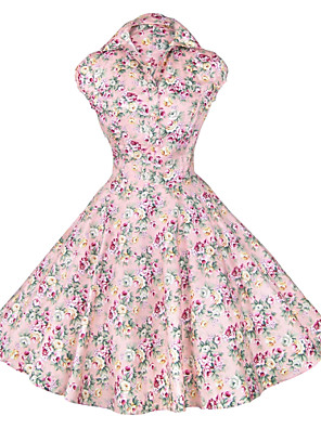 Maggie Tang Women's 50s Vintage Floral Rockabilly Hepburn Pinup Cos Party Swing Dress 512