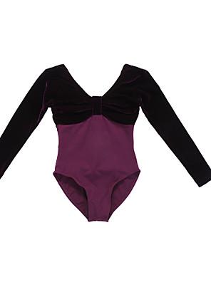 בלט בגדי גוף בגדי ריקוד נשים / בגדי ריקוד ילדים ביצועים / אימון כותנה / קטיפה חלק 1 שרוול ארוך נסיכות Leotard