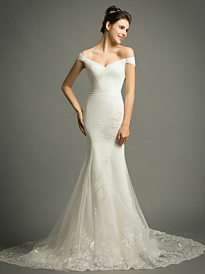 Trumpet / Mermaid Wedding Dress Court Train Off-the-shoulder Tulle with