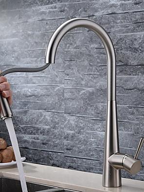 Moderne Træk-out / Pull-down Vandret Montering Træk-udsprøjte with  Keramik Ventil Enkelt håndtag Et Hul for  Børstet , Køkken Vandhane