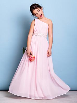 Lanting Bride® Na zem Šifón Šaty pro malou družičku A-Linie Jedno rameno s Korálky / Šerpa / Stuha / Boční řasení