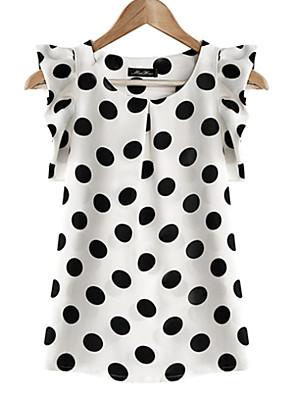 מנוקד צווארון עגול פשוטה יום יומי\קז'ואל / מידות גדולות חולצה נשים,קיץ שרוולים קצרים לבן שקוף פוליאסטר