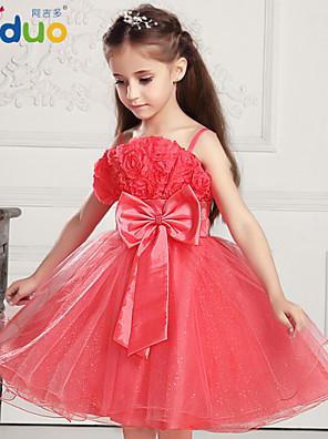Kids Girls' Big Bowknot 3D Rose Flower Princess Layered Pageant Gauze Tutu Braces Full Dress