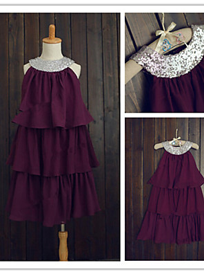 A-line Tea-length Flower Girl Dress - Chiffon / Sequined Sleeveless Jewel with