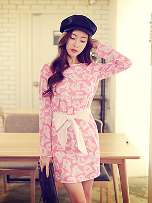 Pink Doll®Women's Round Casual/Print Bow Slim Dress
