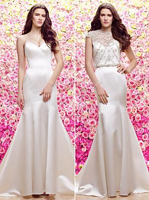 Lanting Bride Trumpet/Mermaid Wedding Dress-Sweep/Brush Train Jewel Satin / Tulle