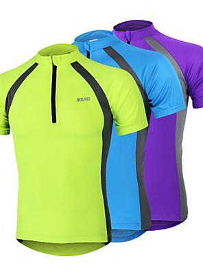 Arsuxeo® חולצת ג'רסי לרכיבה לגברים שרוול קצר אופנייםנושם / ייבוש מהיר / עיצוב אנטומי / רוכסן קדמי / חומרים קלים / רצועות מחזירי אור / כיס