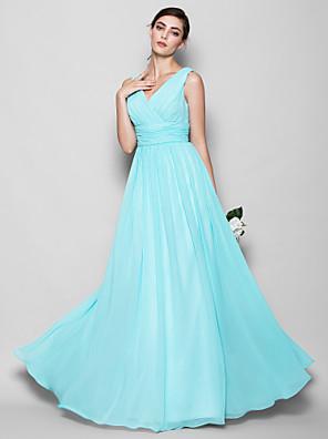 Lanting Bride® עד הריצפה ג'ורג'ט שמלה לשושבינה - גזרת A / מעטפת \ עמוד צווארון וי פלאס סייז (מידה גדולה) / פטיט עם בד בהצלבה