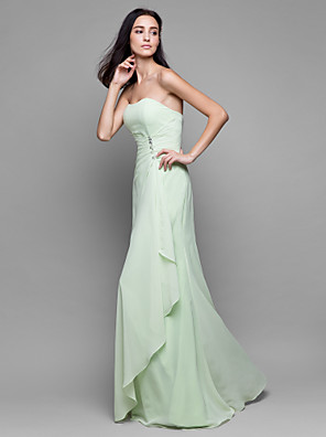 Floor-length Chiffon Bridesmaid Dress Sheath / Column Strapless with Crystal Detailing / Cascading Ruffles