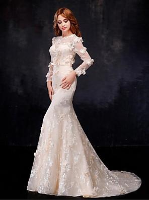 בתולת ים \ חצוצרה שמלת כלה  שמלות חתונה צבעוניות עד הריצפה עם תכשיטים אורגנזה / סאטן עם