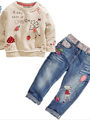 Girl's Cotton Blend Jeans/Clothing Set Spring/Fall Long Sleeve