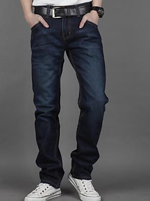 Masculino Tamanhos Grandes Reto Jeans Calças-Cor Única Casual Cintura Média Zíper Algodão Micro-Elástico Todas as Estações