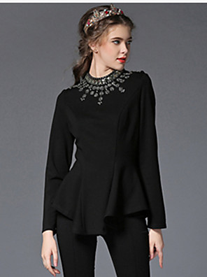 Autumn Women Clothing Plus Size Luxury Fashion Bead Diamond Falbala Asymmetric Slim Party/Work/Casual Blouse Shirt