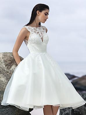 Lanting sposa una linea di abito da sposa-gioiello al ginocchio organza