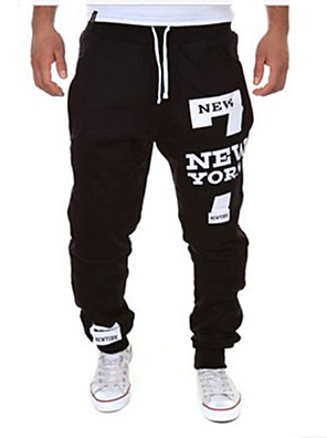 Men's Letter Print Casual Sport Style Long Sweatpants,Cotton Blend Black / White / Gray All Seasons Fashion Comfortable Pant