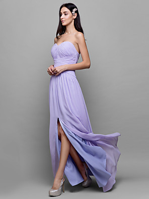 Lanting Bride® Na zem Žoržet Šaty pro družičky - Pouzdrové Srdce s Křížení
