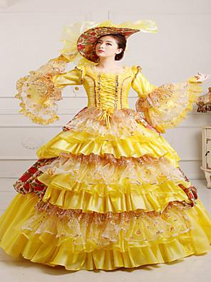 Jednodílné/Šaty Gothic Lolita Steampunk® / Viktoria Tarzı Cosplay Lolita šaty Žlutá Retro Dlouhé rukávy Long Length Klobouk Pro Dámské