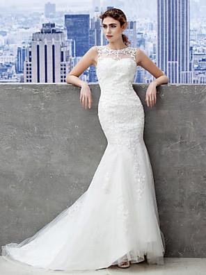 Lanting Bride® Mořská panna Drobná / Nadměrné velikosti Svatební šaty Open Back / Krajka Dlouhá vlečka Nabraný Krajka / Tyl sKnoflíky /