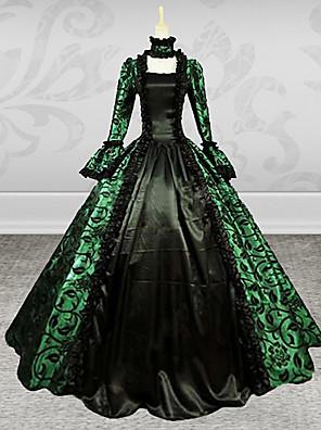 Jednodílné/Šaty Gothic Lolita Steampunk® / Retro Cosplay Lolita šaty Zelená Retro Dlouhé rukávy Long Length Šaty Pro Dámské Satén / Krajka
