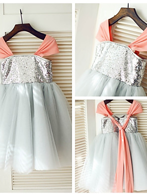 A-line Knee-length Flower Girl Dress - Chiffon / Tulle / Sequined Sleeveless Straps with