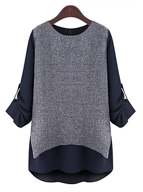 Mulheres Blusa Casual Simples Outono,Color Block / Patchwork Cinza Poliéster Decote Redondo Manga Longa Fina