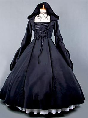 Jednodílné/Šaty Gothic Lolita Steampunk® / Retro Cosplay Lolita šaty Černá Retro Dlouhé rukávy Long Length Šaty Pro DámskéBavlna /