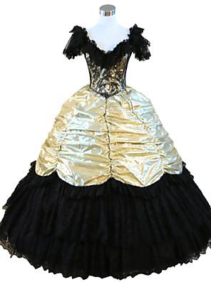 Uma-Peça/Vestidos Gótica Steampunk® / Inspiração Vintage Cosplay Vestidos Lolita Laranja Vintage Sem Mangas Comprimento Longo Vestido Para