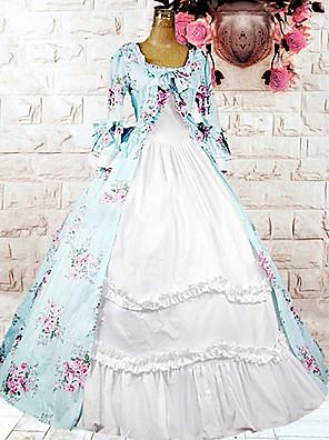 Uma-Peça/Vestidos Doce Lolita Cosplay Vestidos Lolita Azul Céu Estampado / Floral Manga Comprida Comprimento Médio Vestido Para Feminino