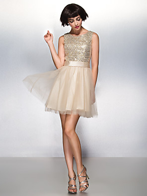 ts couture® cocktail party A-Line Scoop breve mini tulle / lustrini con paillettes /